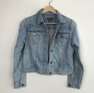 Chaps Jean Jacket Embroidered Sz: M